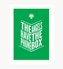 The Angels Have The Phone Box Tribute Poster White on Green Art Print