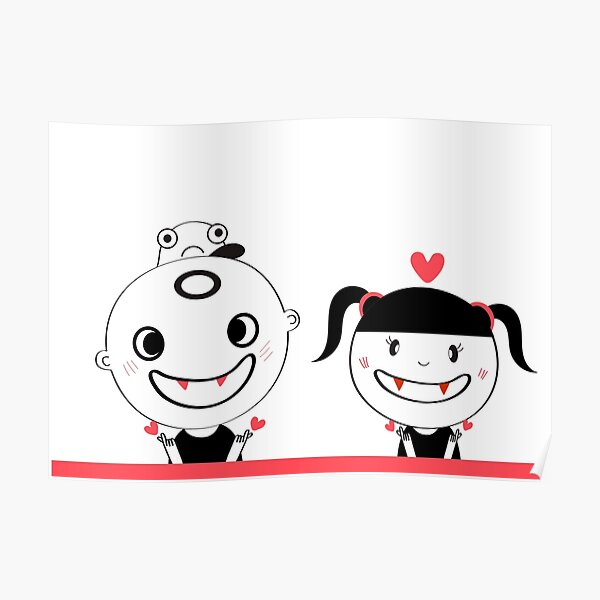 cute boy and girl monster  ,lovely,doodle cartoon design  Poster