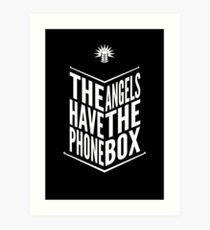 The Angels Have The Phone Box Tribute Poster White on Black Art Print
