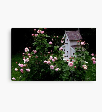 Mayor of Casterbridge Rose and Birdhouse Canvas Print