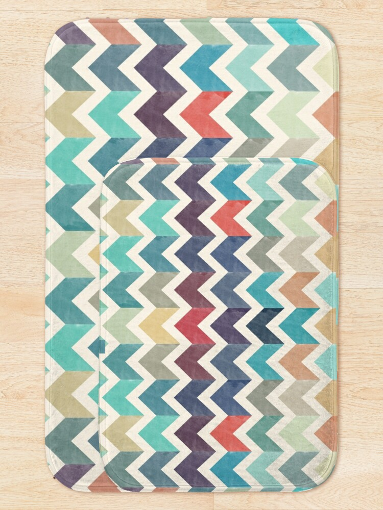 Alternate view of Watercolor Chevron Pattern Bath Mat