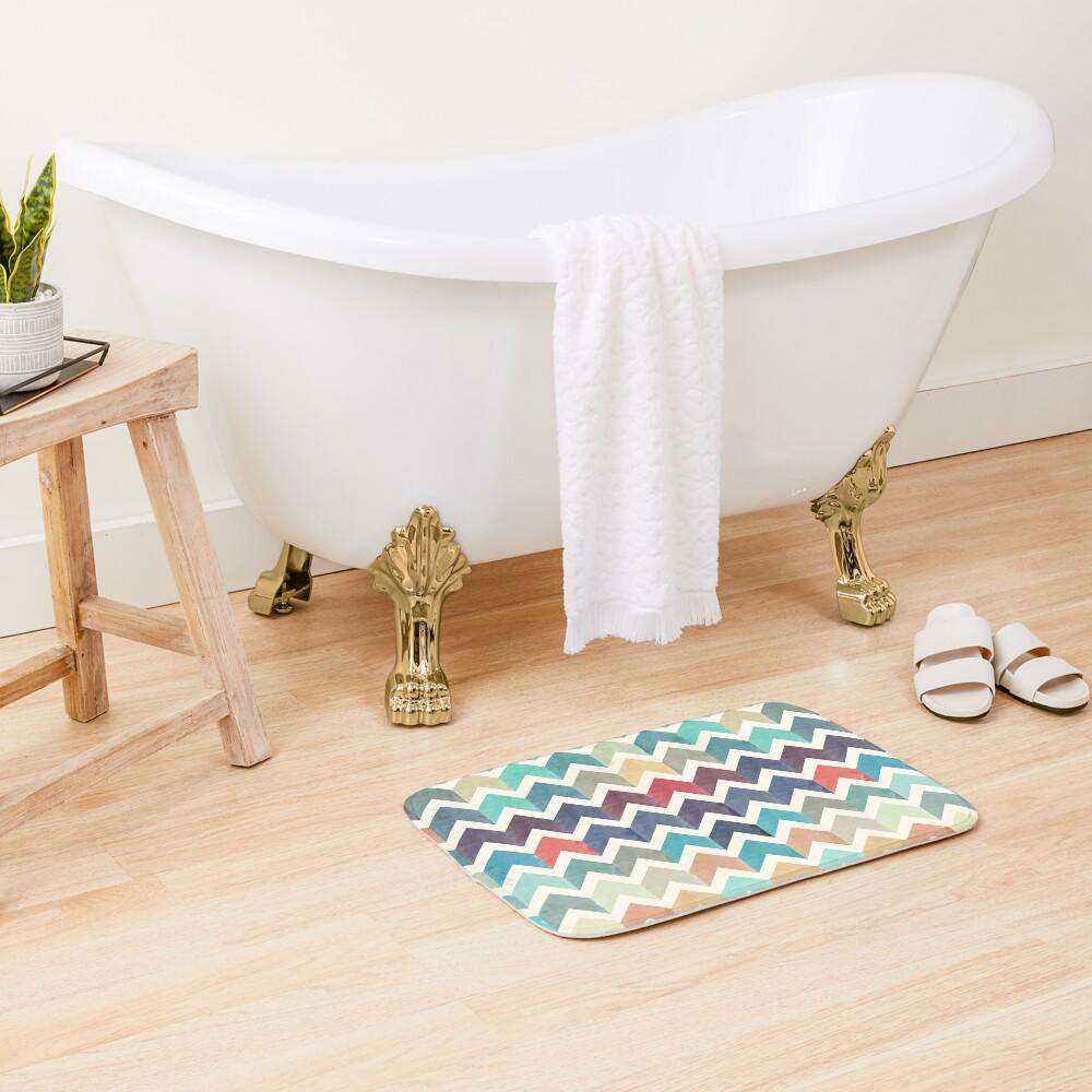 Watercolor Chevron Pattern Bath Mat