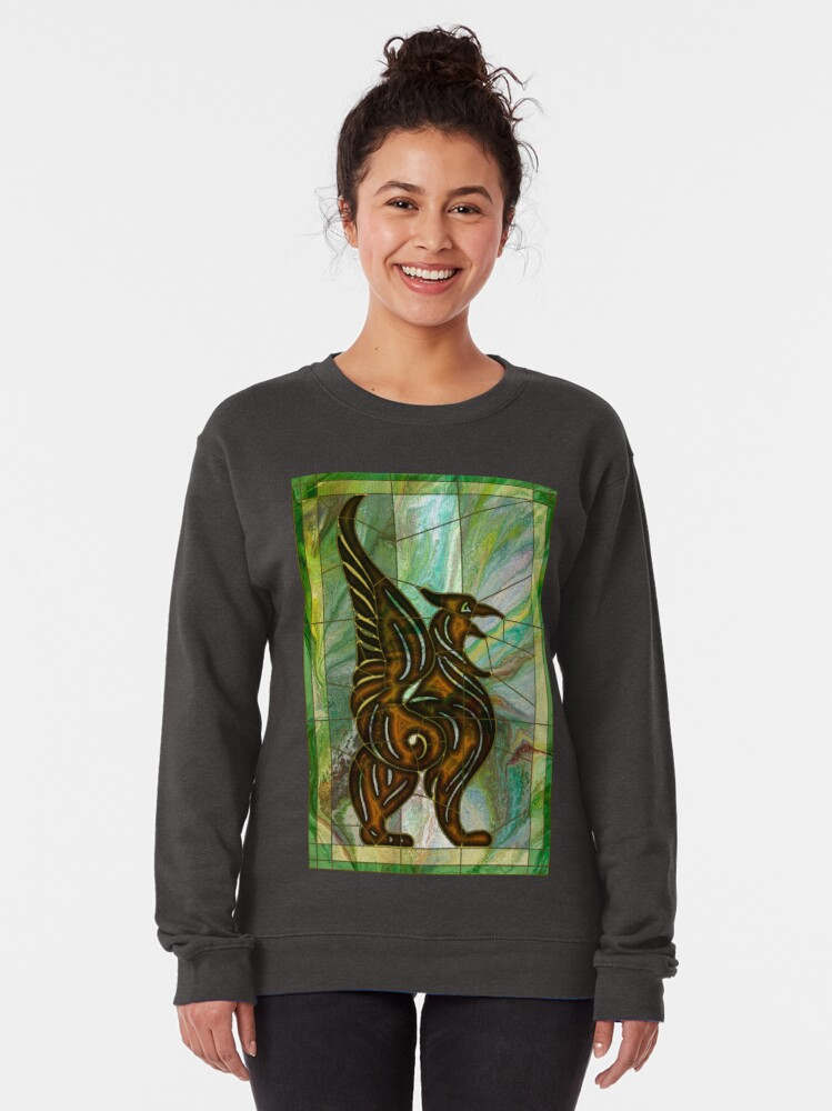 Alternate view of Gryphon: stained glass griffin Pullover Sweatshirt