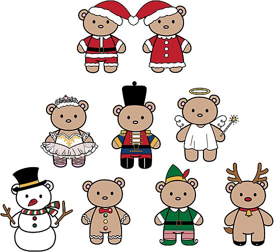 Little Bears in Christmas icons by funfang