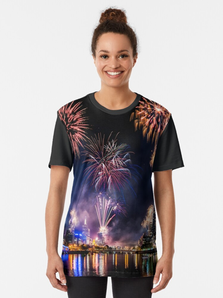 Alternate view of New Year Fireworks, Melbourne Australia Graphic T-Shirt