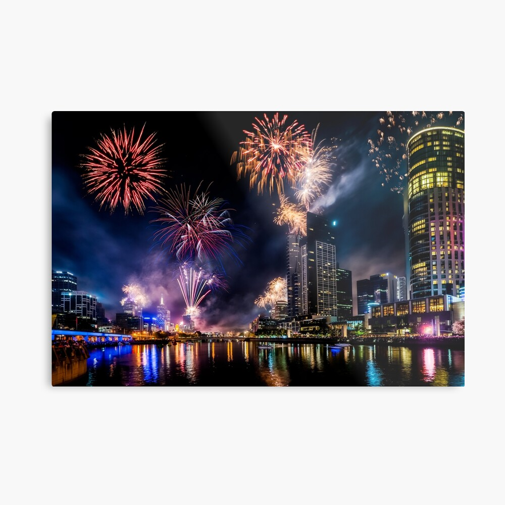 New Year Fireworks, Melbourne Australia Metal Print