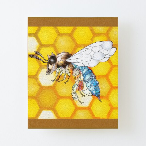 Blue Banded Bee Canvas Mounted Print