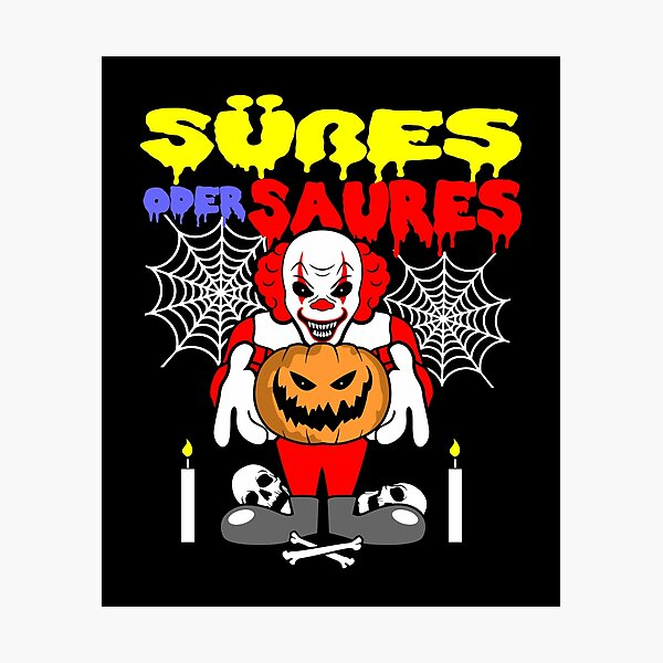 Cute Or Treat Clown Halloween Kids Photographic Print