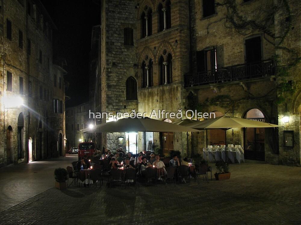 Life in San Gimignano by hans p olsen