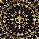 Lilie - Kreisverzierung - Gold und Schwarzes von k9printart