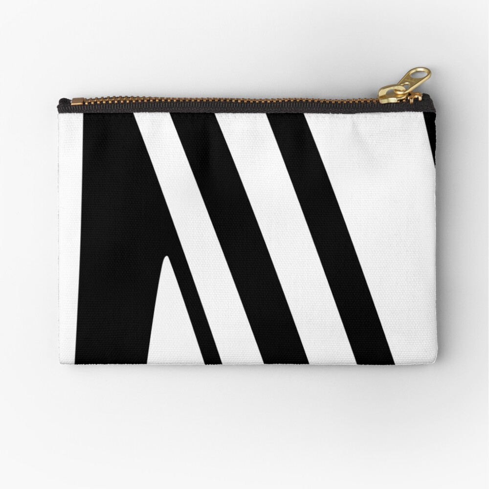 White and Black Thin Dazzle Zipper Pouch