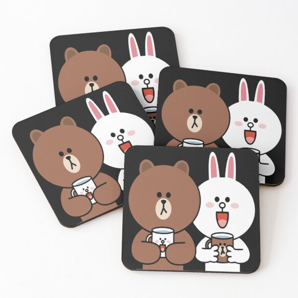 Cute brown bear cony bunny rabbit lovers Coasters (Set of 4)