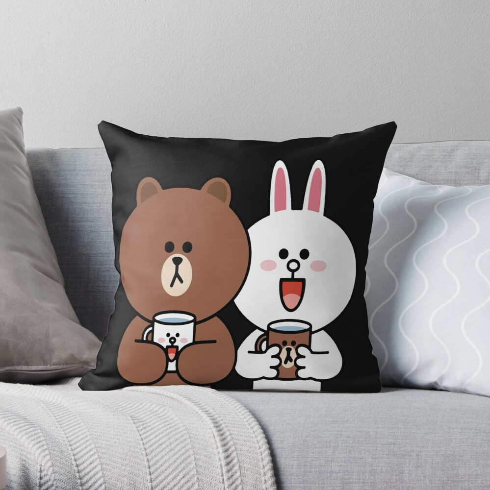 Cute brown bear cony bunny rabbit lovers Throw Pillow