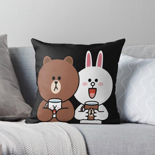 Cute brown bear cony bunny rabbit lovers Throw Pillow