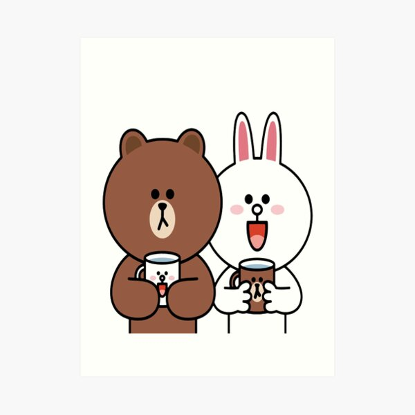 Cute brown bear cony bunny rabbit lovers Art Print