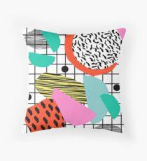 Posse - 1980's style throwback retro neon grid pattern shapes 80's memphis design neon pop art Throw Pillow