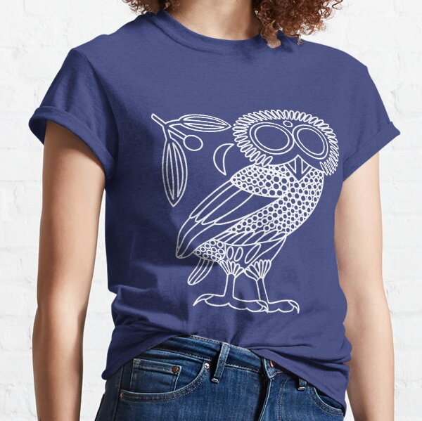 Owl of Athena [White Outline + Wreath and Crescent] Classic T-Shirt