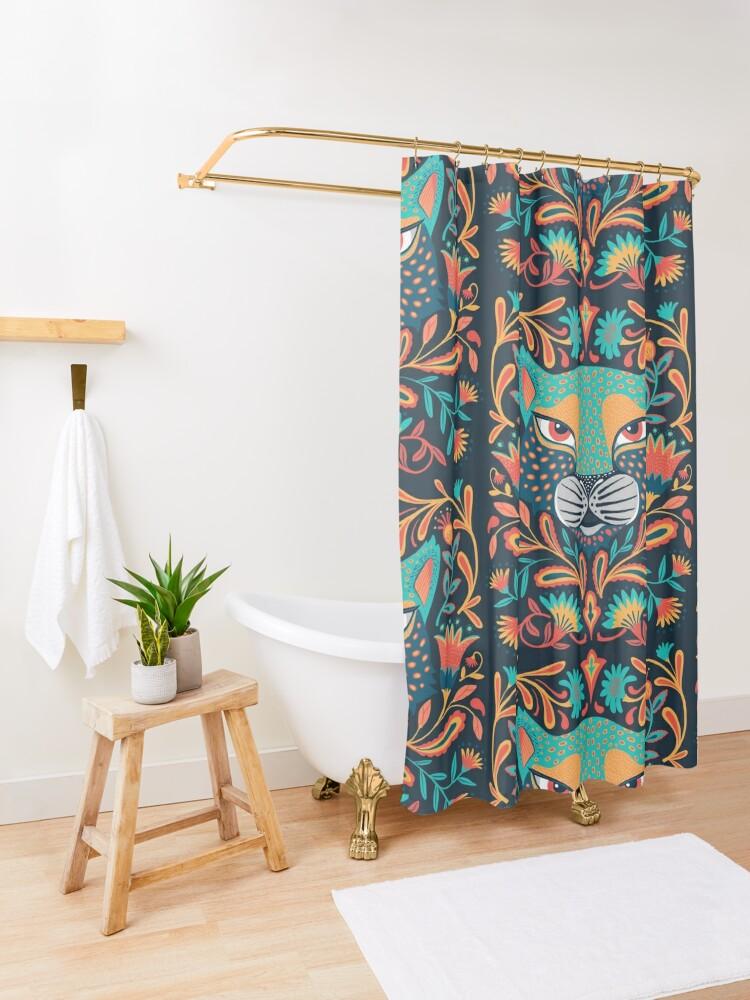 Alternate view of Folk jaguar Shower Curtain
