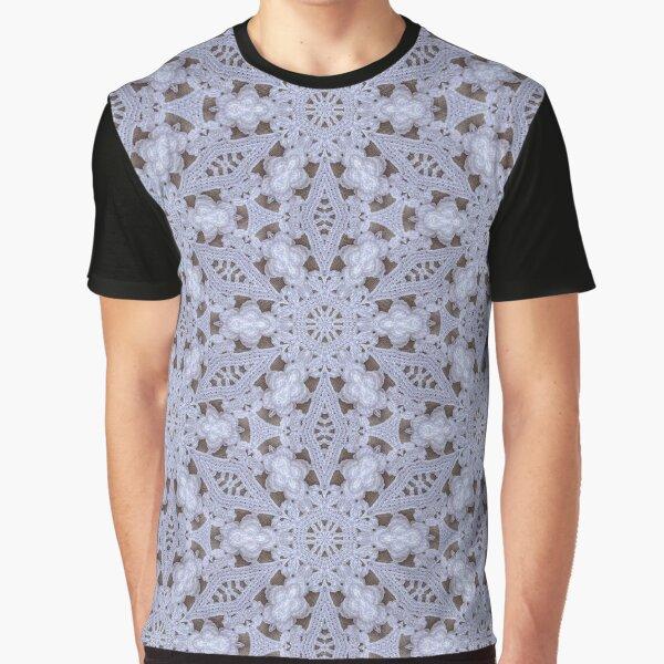 White Lace Pattern Graphic T-Shirt