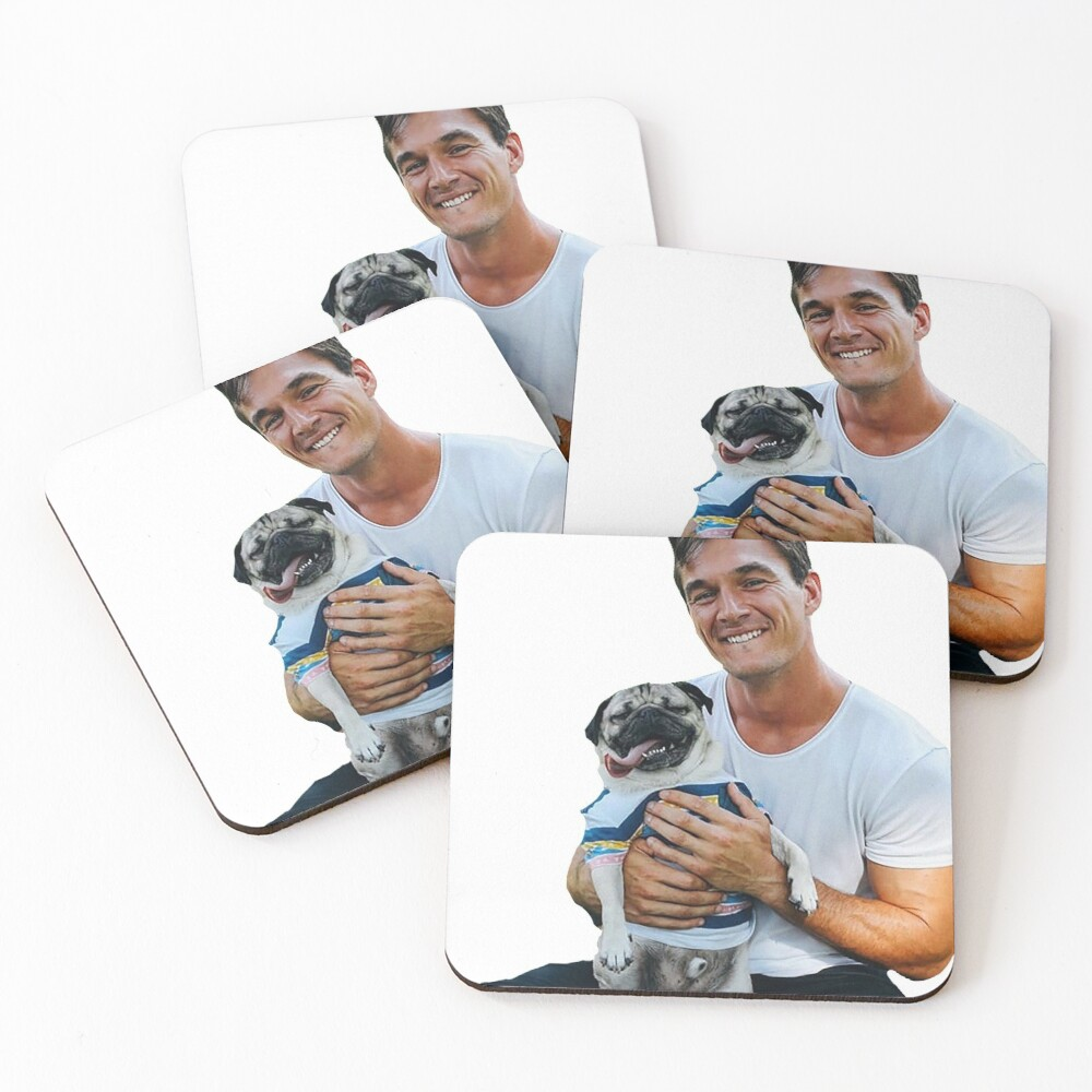 Tyler C. with Dog - Cutout Coasters (Set of 4)