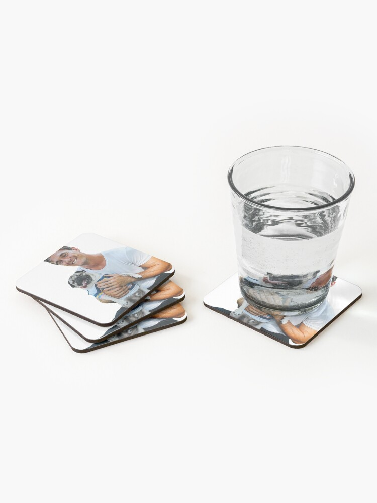 Alternate view of Tyler C. with Dog - Cutout Coasters (Set of 4)