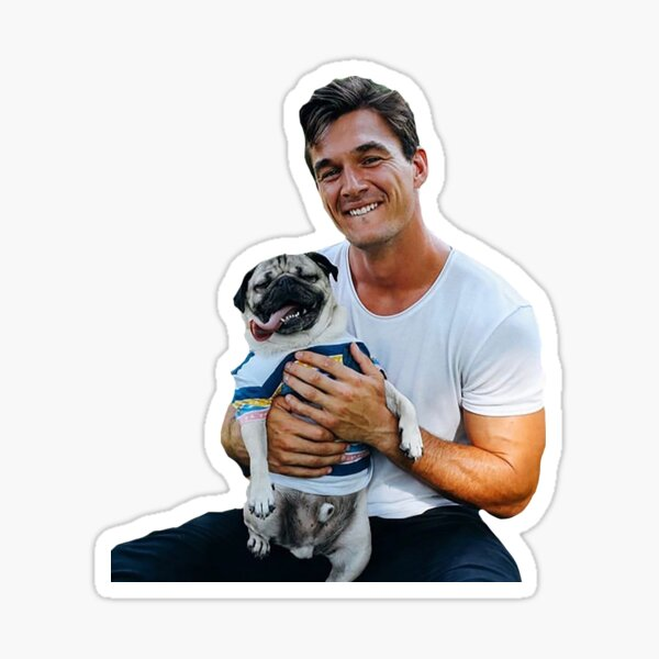 Tyler C. with Dog - Cutout Sticker