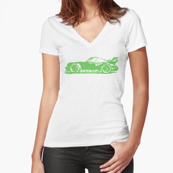 Green Porsche 911 Fitted V-Neck T-Shirt