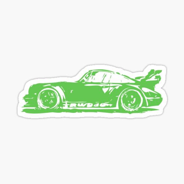 Green Porsche 911 Glossy Sticker