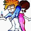 guy and girl graffiti - shirt by Luke Griffin