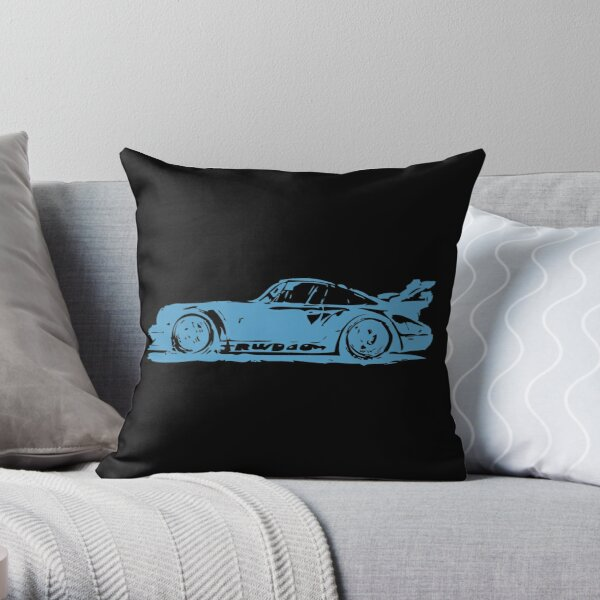 Blue Porsche 911 Throw Pillow