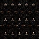 Fleur-de-Lis-Musterpunktkunstschwarzes und -gold von k9printart