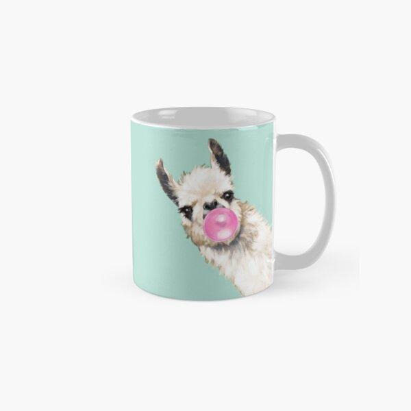 Bubble Gum Sneaky Llama in Green Classic Mug