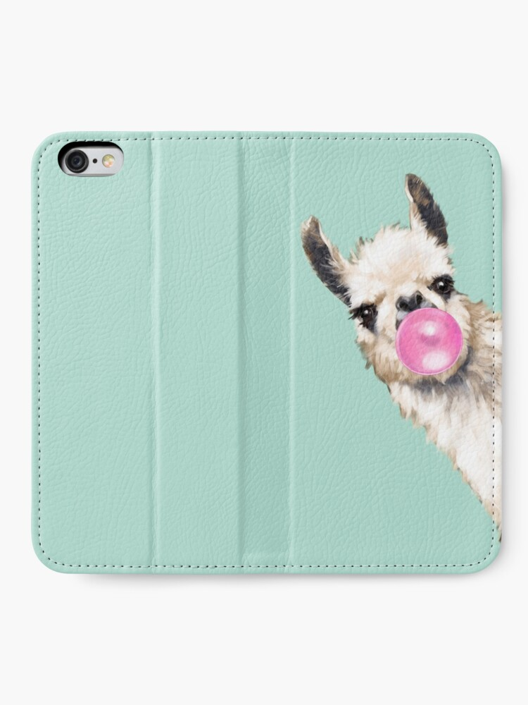 Alternate view of Bubble Gum Sneaky Llama in Green iPhone Wallet