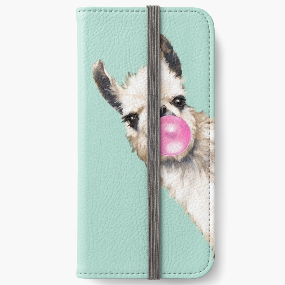 Bubble Gum Sneaky Llama in Green iPhone Wallet