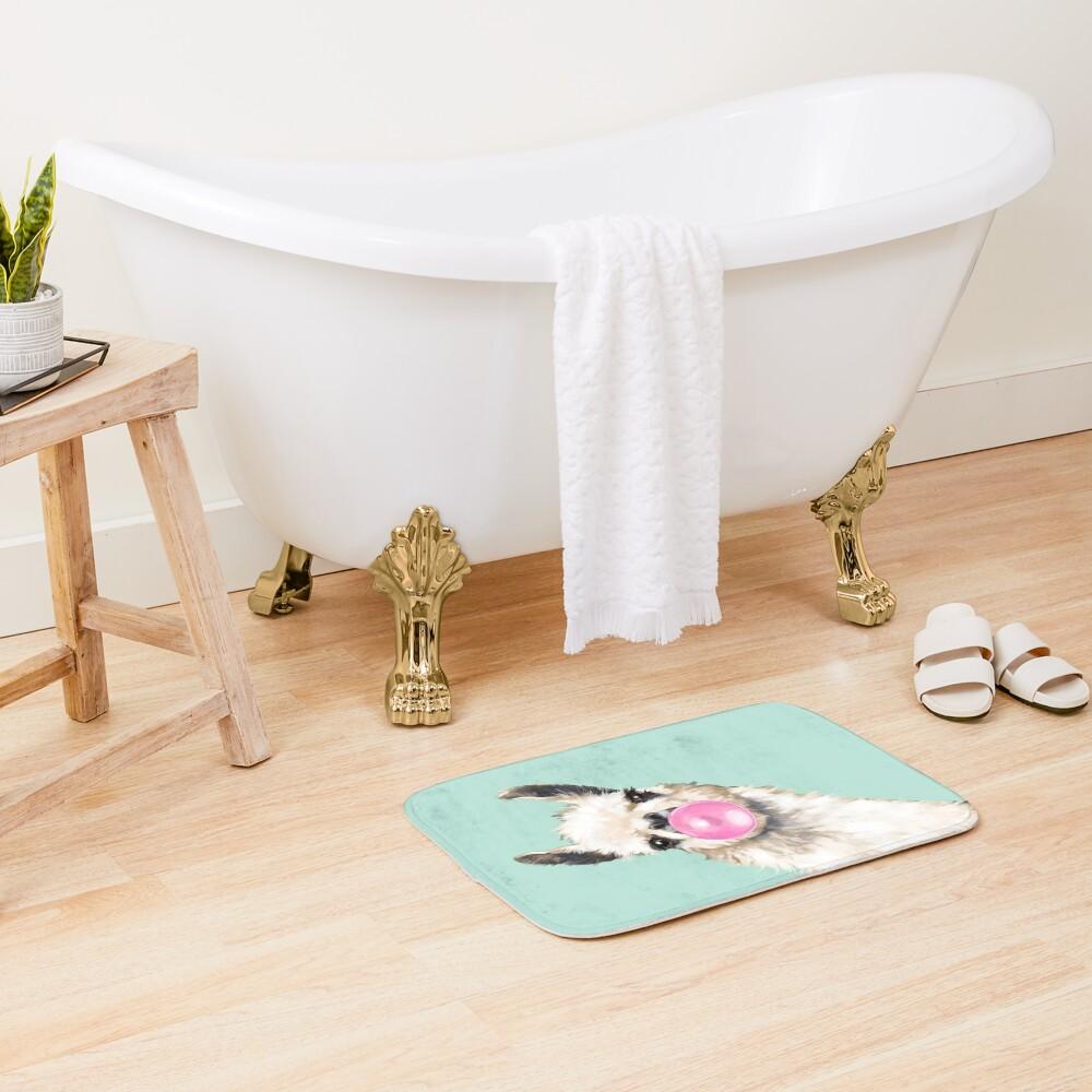 Bubble Gum Sneaky Llama in Green Bath Mat