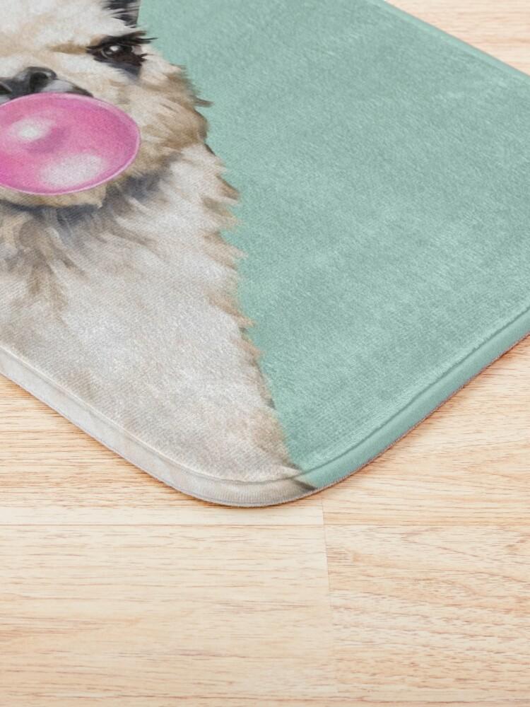Alternate view of Bubble Gum Sneaky Llama in Green Bath Mat