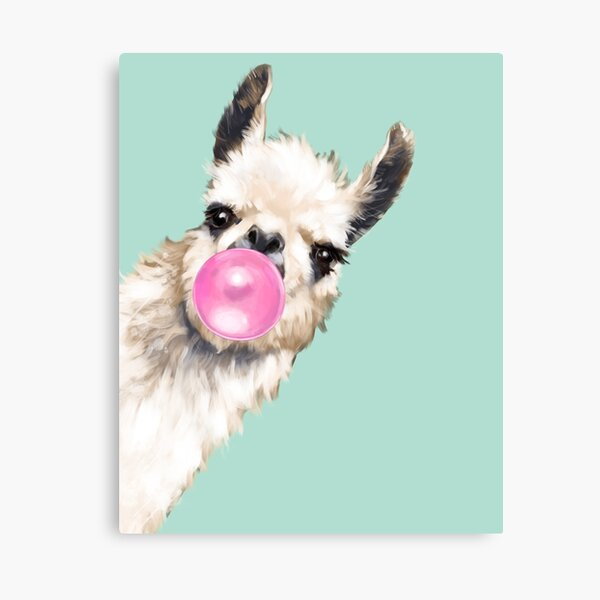 Bubble Gum Sneaky Llama in Green Canvas Print