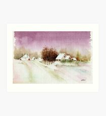 A BEAUTIFUL WINTER - AQUAREL Art Print