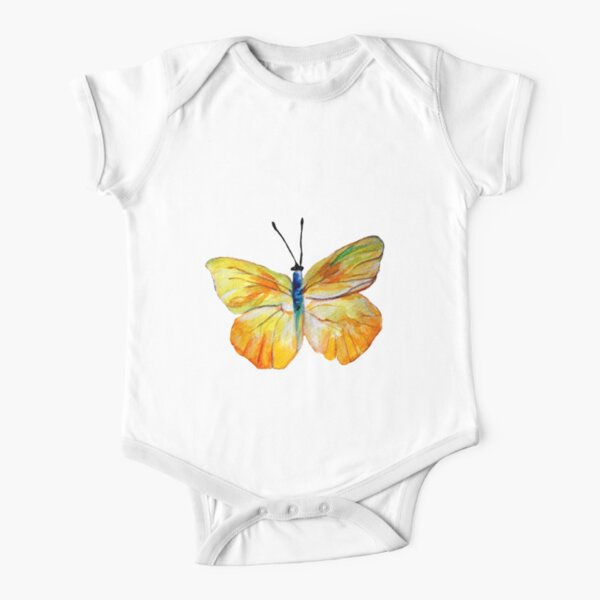 Yellow Butterfly Watercolor art  Short Sleeve Baby One-Piece