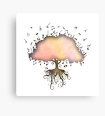 Watercolor Music Tree of Life Metal Print
