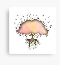 Watercolor Music Tree of Life Canvas Print