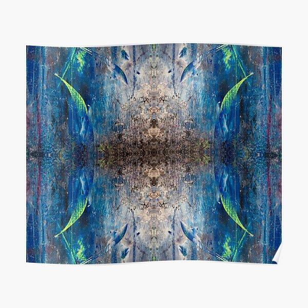 Verspieltes leichtes abstraktes buntes Design in den Farben Blau Grau Schwarz Lila Rosa Gelb Poster