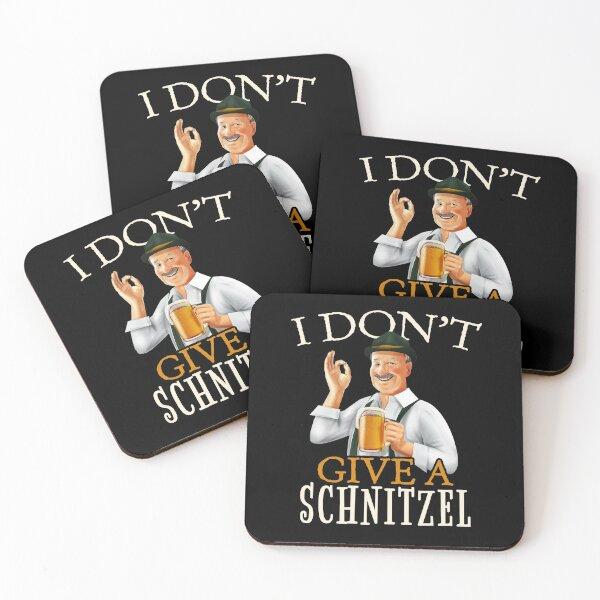 I Don't Give A Schnitzel - Funny German Oktoberfest Beer Art Coasters (Set of 4)