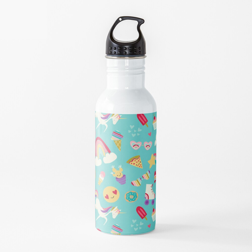 Tween Girl Icons Rainbows Emojis Unicorns Roller Skates Water Bottle