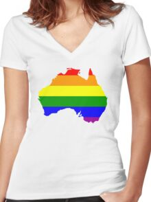 Australia Gay Marriage Design Women's Fitted V-Neck T-Shirt