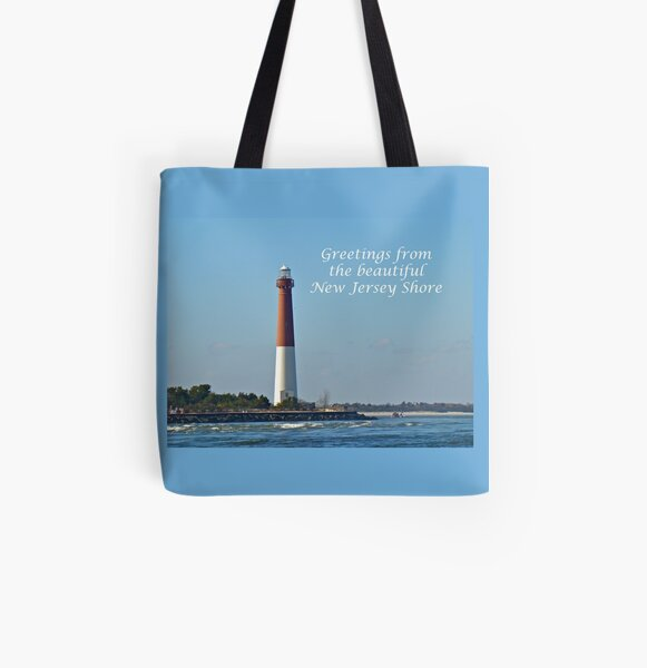 Greetings From the Beautiful New Jersey Shore - Barnegat Lighthouse All Over Print Tote Bag