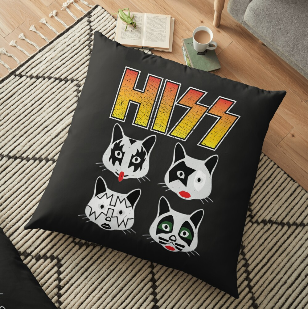 Hiss Kiss - Cats Rock Band Floor Pillow