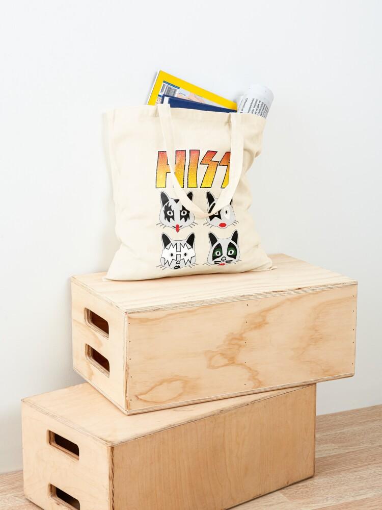 Alternate view of Hiss Kiss - Cats Rock Band Tote Bag