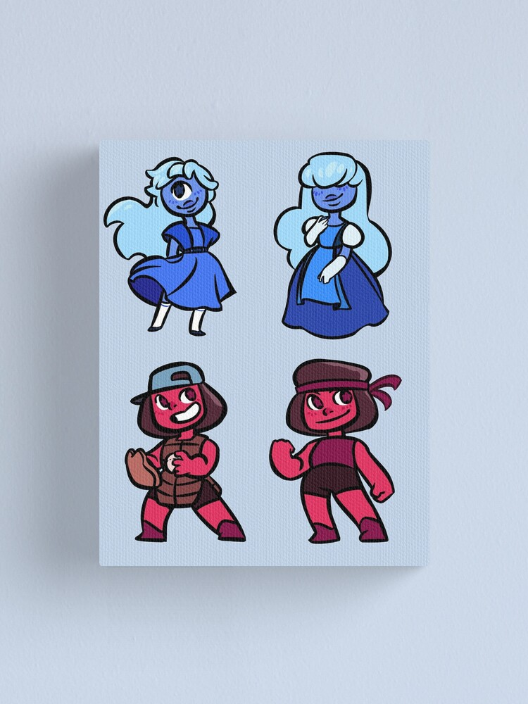 Alternate view of Steven universe mini stickers - Ruby and Sapphire set Canvas Print