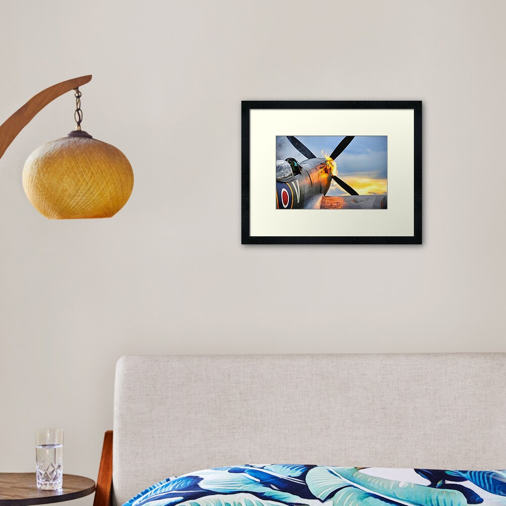 Spitfire airplane of the RAF doing a firy hot start showing flames Framed Art Print